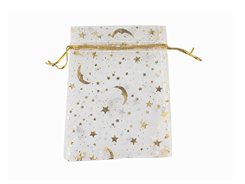 QIANHAILIZZ 100 Moon Star Organza Jewelry Gift Pouch Candy Pouch Drawstring Wedding Favor Bags (White, 3.5 x 4.7 inch)
