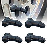 Prank Penis_Shaped Tyre Cap, Tapas de vástago de válvula de rueda de coche, Despedidas de soltera Cubierta de polvo de neumático, se adapta a coches/camiones/bicicletas (Black)