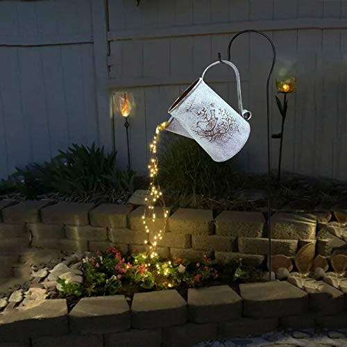 Gießkanne Deko mit Lichter, Garten Gießkanne Lichter, LED-Lichterkette mit Gießkanne, zum Ausgießen von Sternenhimmel, Nachtlicht für Hof, Garten, Weg (A mit Halterung, Ohne Batterie)