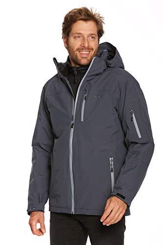 Jeff Green Chaqueta de esquí y snowboard para hombre, transpirable, impermeable, columna de agua de 12.000 mm y capucha desmontable., Hombre, azul marino, medium