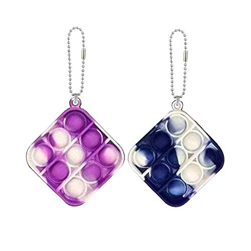 Zxhtwo 2 Pcs Simple Dimple Fidget Toy Mini Stress Relief Hand Toys Keychain Toy Bubble Wrap Pop Anxiety Stress Reliever Office Desk Toy for Kids Adults Purple Blue