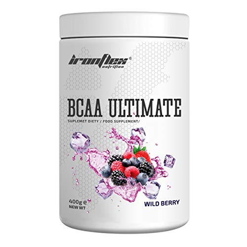 IronFlex BCAA Ultimate - 1 Pack - Branched Chain Amino Acids in Powder - Muscle Regeneration – Anticatabolic – Citrulline Malate (Wild Berry, 400g)