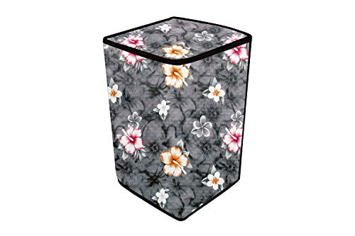 Stylista Washing Machine Cover Compatible for Samsung 6.5 Kg Inverter Fully-Automatic Top Loading Washing Machine WA65T4262GG/TL Floral Pattern Grey