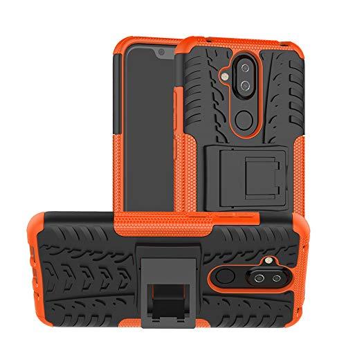 MRSTER Nokia 8.1 Custodia, [Heavy Duty Protezione] [Dual Layer] Difficile Silicone Kickstand Ibrida Shock Proof Cover Custodia Compatibile Nokia 8.1 (2018). Hyun Orange