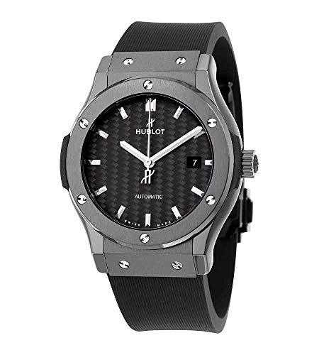 Hublot Classic Fusion Automatik-Armbanduhr, schwarzes Karbonfaser-Zifferblatt, schwarzes Gummiband, Herrenuhr-Modell 542.CM.1771.RX