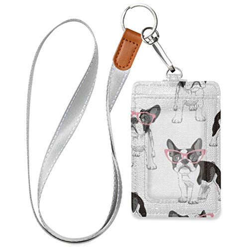 ZZAEO Badge Holder with Lanyard, PU Leather ID Credit Card Case for Students Workers (French Bulldog)