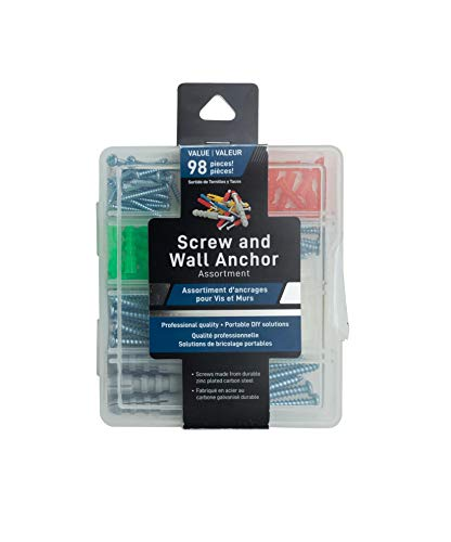 Jacent Screw and Wall Anchor Assortment Set, Professional Quality 98 Pieces per Pack - 1 Pack