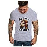 HEETEY - Camiseta de manga corta para fiesta casual con diseño de cisternas y cuello redondo Gris1. S