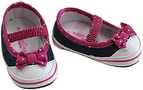 Mayoral Zapatos de bebé vaquero con lazo rosa y lunares blancos, color, talla 17 EU