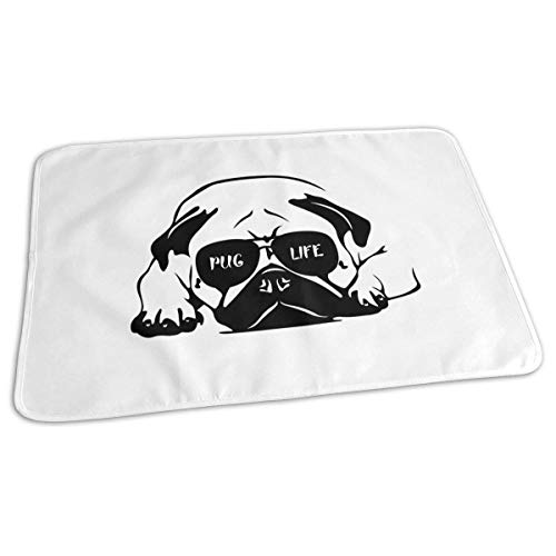Couverture de matelas à langer réutilisable Pug Life pour bébé 27,5 x 19,7 cm