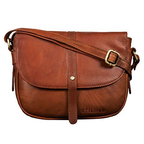 STILORD \'Clara\' Kleine Umhängetasche Frauen Leder Vintage Handtasche zum Ausgehen Klassische Abendtasche Partytasche Freizeittasche Echtleder, Farbe:Cognac - braun