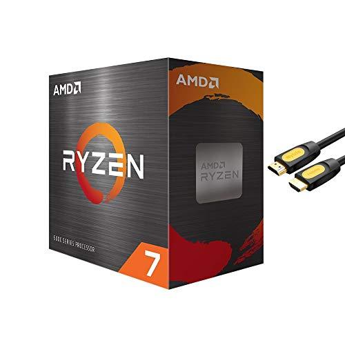 AMD-Ryzen 7 5800X 4 Gen 8-core de processadores para desktop sem Refrigerador, 16 Threads desbloqueado, 3,8 GHz até 4,7 GHz, socket AM4, Zen 3 Arquitetura central, StoreMI Tecnologia / Mytrix HDMI Cable w