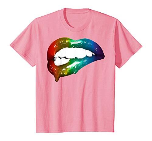 Tengyuntong Camisetas y Tops Polos y Camisas, Labios del Arco Iris | Linda Camiseta de Regalo Artful Make-up Addicts