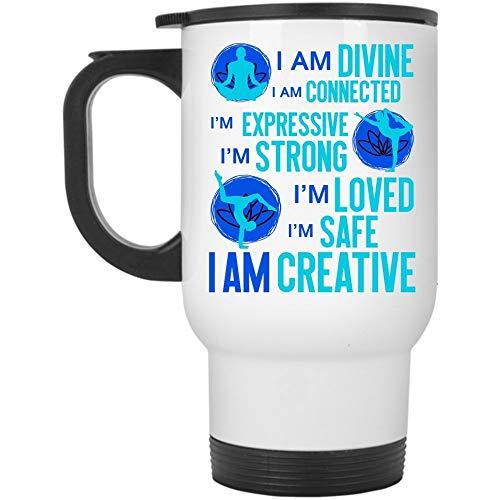 Cool Gift For Yoga Lover Travel Mug, I Am Divine I Am Connected Mug (Taza de viaje - Blanco)
