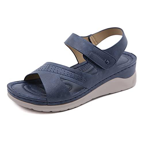 WellingA Sandalias CuñA para Mujer Casual Verano Punta Abierta Mujer Plataforma Sandalias CuñA Zapatos CóModos Antideslizantes, Sandalias Playa Verano Soporte,Azul,37