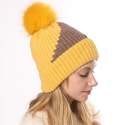 Chapeau for Les Femmes d'hiver Bonnet Slouchy Neige Bonnet Infinity Beanies for Les Femmes tactiles,Bonnets Femme,Hat for Girls (Color : Yellow, Size : 40-60cm)