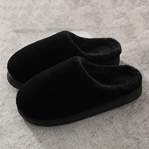 AYDQC Hombres Deslizadores de Invierno Hombres y Mujeres Pareja Indoor Hogar No resbalón Soft Algodón Zapatos Mujeres Sólido Color Peluche Zapatos Zapatos (Color : B, Size : Code 39)