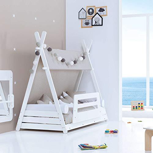 ALONDRA – Barrera de cama Montessori de bebés en madera blanca, modelo SAFETY GUARD JBJ140-M77 con velcros de anclaje. Lacada en barnices no tóxicos.