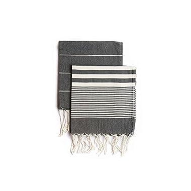 Set of 2, Eco-friendly Turkish Tea Towel, Dishclothes, Peshkir, Dish Towel, Kitchen Towel, Hand Towel (Black), Size: 18″ x 40″