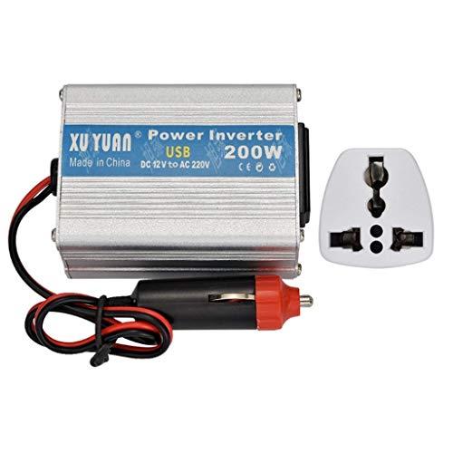ZHCJH Wechselrichter Real Sinus 200W, Laptop mit Buchse und USB-Schnittstelle, Tablet und Handy DC 12V bis AC220-230V Spannungswandler