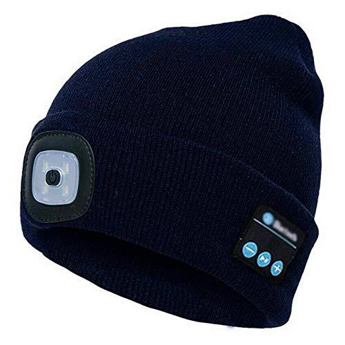 Unisex Bluetooth 5.0 Música Invierno De Punto Beanie Cap Manos Libres Altavoz LED Cabeza Luz Negro