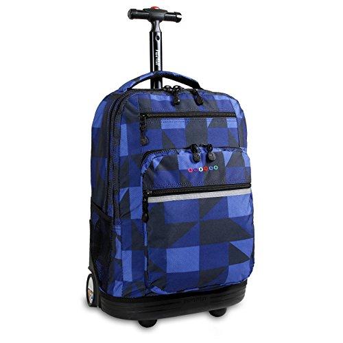 J World New York Sundance Rolling Backpack Girl Boy Roller Bookbag, Block Navy, One Size