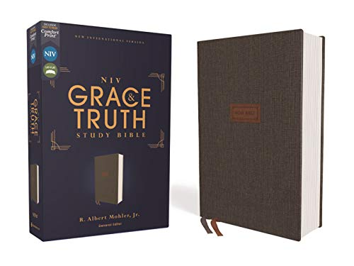 Compare Textbook Prices for NIV, The Grace and Truth Study Bible, Cloth over Board, Gray, Red Letter, Comfort Print  ISBN 0025986447137 by Zondervan,Mohler  Jr., R. Albert