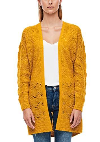 Q/S designed by - s.Oliver Damen Strickjacke im Open Front-Design golden yellow L