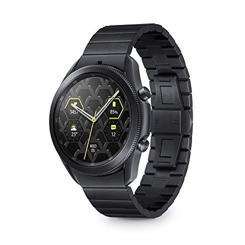 Samsung Galaxy Watch3 Smartwatch Bluetooth, cassa 45mm e cinturino in titanio, Saturimetro, Rilevamento cadute, Monitoraggio 40 sport, 53,8g, Batteria 340 mAh, IP68, Mystic Black [Versione Italiana]