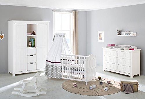 Pinolino 101617 x G 3 pièces, lit bébé, commode avec table à langer extra large et grande armoire, Épicéa massif, 140 x 70 x cm, lasuré blanc