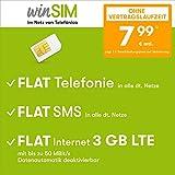 Handyvertrag winSIM LTE All 3 GB - ohne Vertragslaufzeit (FLAT Internet 3 GB LTE mit max 50 MBit/s mit deaktivierbarer Datenautomatik, FLAT Telefonie, FLAT SMS und EU-Ausland, 7,99 Euro/Monat)