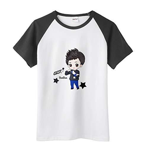 Fanstown Kpop GOT7 Tshirt Black Shoulder Member Cartoon Signature Shirt #1