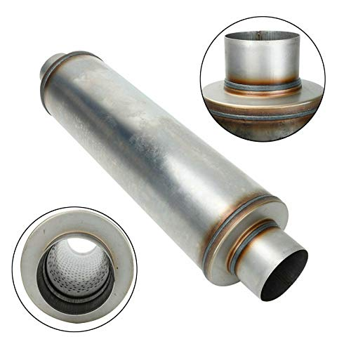 BLACKHORSE-RACING 4' Inlet and 4 inch Outlet Exhaust Tip Muffler,...