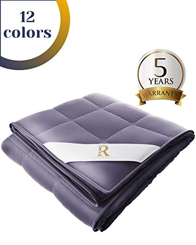 Royal Therapy Weighted Blanket 100% Calming Cotton Blanket with Glass Beads (60''x80'' 15lbs, Satin Gold)