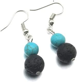 MWQLF 8MM Seven Chakra Beads 10mm Black Lava Bead Earrings Essential Oil Diffuser Dangle Earrings Jewelry
