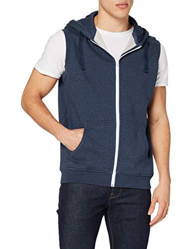 Urban Classics Melange Sleeveless Ziphoody T-Shirt, Bleu (Noir/Bleu 00271), M Homme