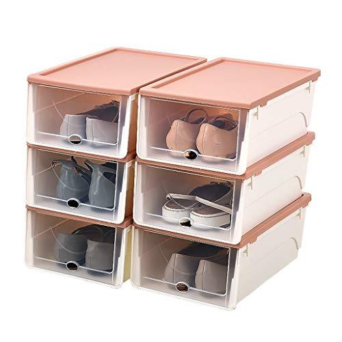 DAGCOT Zapatero Caja de Almacenamiento del hogar de la Caja de clasificación del Almacenamiento del Estante de la Zapata del Estante portátil apilable del Zapato (Color : Pink)