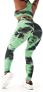 Womens Tie-Dye Workout Sets 2PC Scrunch Butt Lifting Printed Yoga Leggings with Sports Bra Gym Clothes(Green,L)