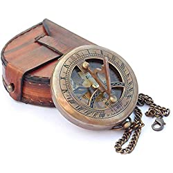 MAR Ocean REPLICAS Nautical Brass Sundial Compass with Leather Case and Chain - Push Open Compass - Steampunk Accessory - Antiquated Finish - Beautiful Handmade Gift -Sundial Clock
