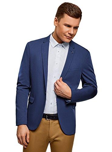 oodji Ultra Herren Taillierter Blazer mit EIN-Knopf-Verschluss, Blau, 48