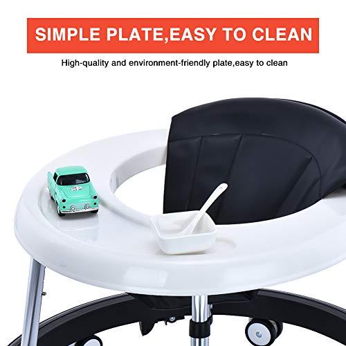 416S+8DR4PL - Andador Bebe, Silla de Bebe Plegable y Ajustable para bebés de 6 a 18 meses (Negro con Freno)