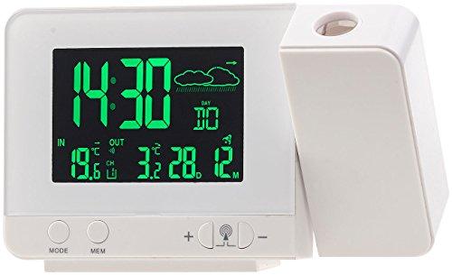 infactory Projektionswecker: Funk-Wetterstation mit Projektions-Wecker, Außensensor und USB, weiß (Projektion Uhr)