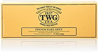 TWG Tea 1837, French Earl Grey, 15 count Hand Sewn Cotton Teabags, (1 Pack) product ID TWG9074 - USA Stock