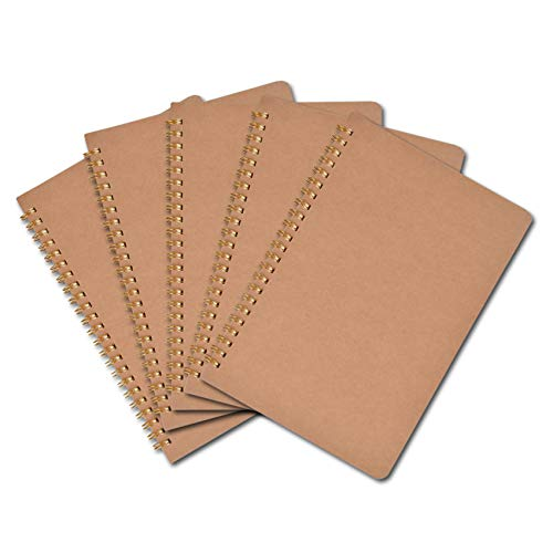 Paquete De 5 Cuadernos De Espiral Bloc De Notas A5 Kraft Cover con Página De Cuadrícula Cuadrada En Blanco, Alineada, Con Puntos para El Diario De Viaje Sketchbook Diaries 100 Páginas / 50 Hojas