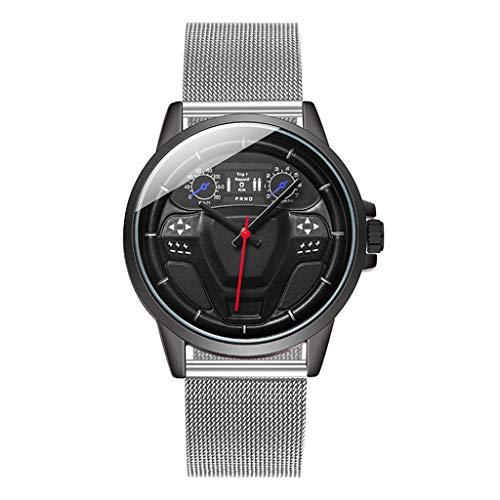 Yivise Relojes Casuales para Hombres Volante Dial Cinturón de Malla Reloj de Pulsera de Cuarzo analógico(C)