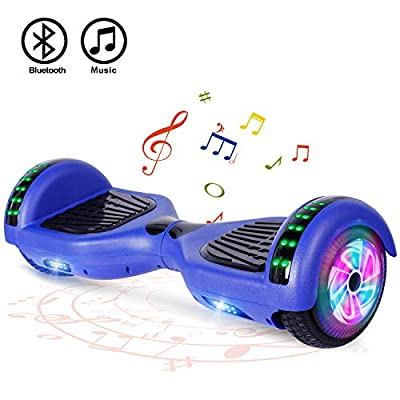 "FLYING-ANT Hoverboard with Bluetooth, Self Balancing Electric Scooter 6.5"" Two-Wheel Hover Boards with LED Lights for Kids and Adult-A02B Blue"