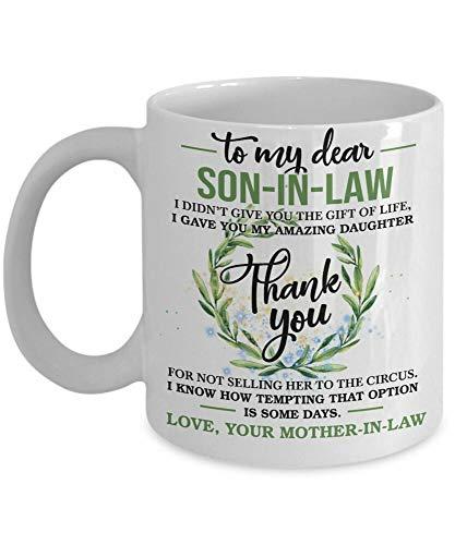 Taza de café de 325 ml, taza de té, regalo para el futuro hijo en ley, regalo de madre en ley, taza de café, regalo para mujeres y hombres
