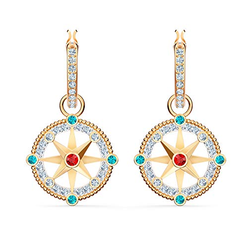Swarovski Women's Ocean Adventure Earrings, Hoop Earrings with Gold-tone Plated Metal, from the Amazon Exclusive Swarovski Ocean Adventure Collection