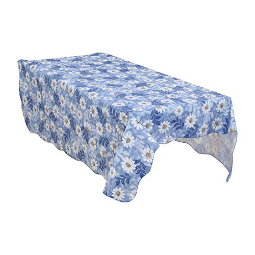 uxcell Vinyl Daisy Pattern Rectangle Tablecloth Cover Water Oil Stain Resistant 71 x 54 Inch for Wedding Party Blue