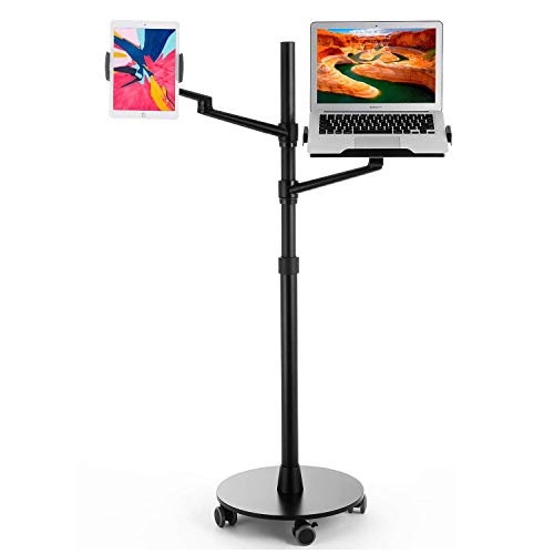 Magichold Height Adjustable Stand Mount with Double arms and Base Rolling Wheel for Laptop (11-17 inch) and Compatible with iPad Pro 12.9 inch/Tablet/Ereader (Black)